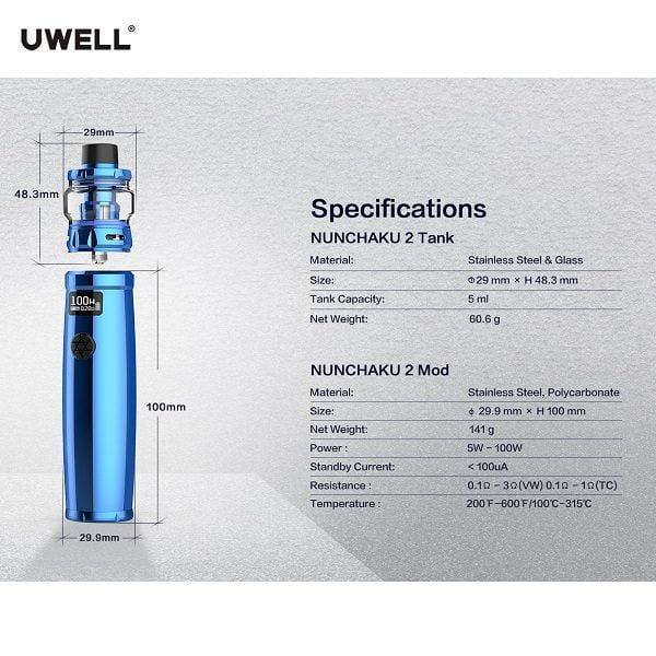 Uwell Nunchaku 2 Set Spezifikation